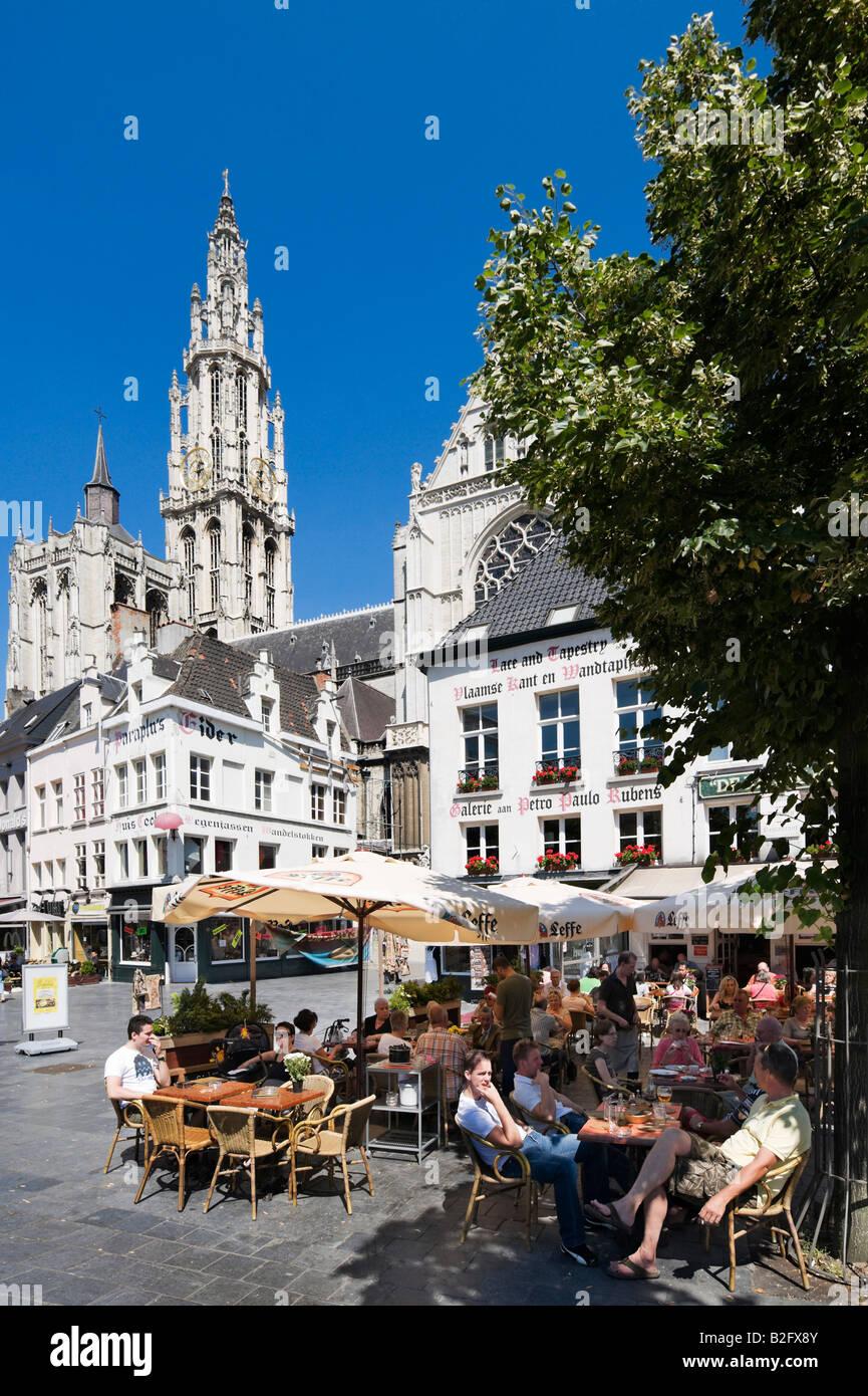 Street Cafes in Groenplaats with Onze Lieve Vrouwekathedraal behind, centre of the old town, Antwerp,  Belgium - Stock Image