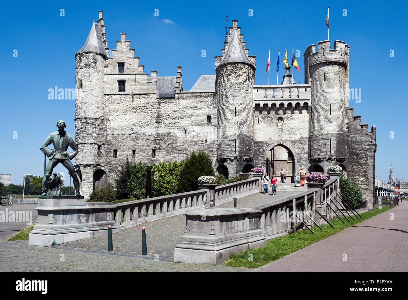 The Steen, Steinplein in the centre of the old town, Antwerp, Belgium - Stock Image