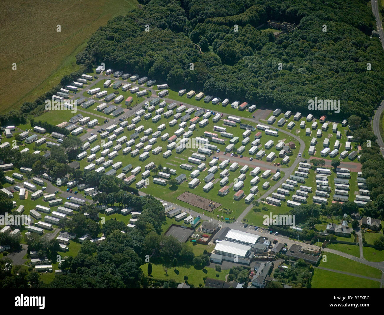 Mobile Home Park, north of Newcastle upon Tyne, North East England - Stock Image