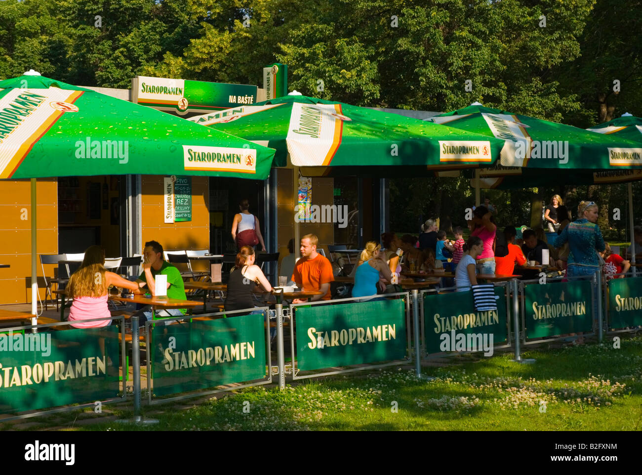 Beer garden in Letna Park in Prague Czech Republic Europe - Stock Image