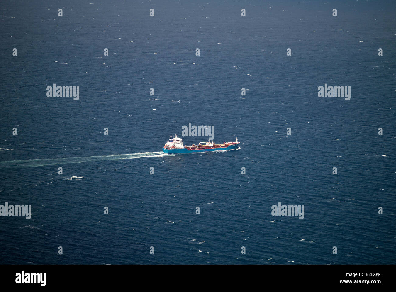 Oil Tanker at the mouth of the Firth of Forth, entering the North Sea, Eastern Scotland - Stock Image