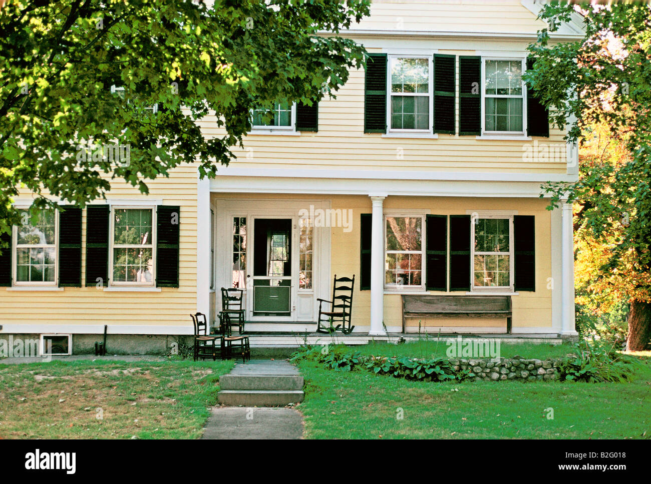 veranda of a suburban house in new england - Stock Image