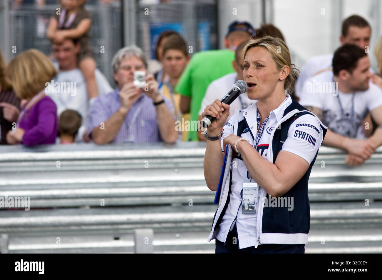 Vicky Butler Henderson at the BMW Sauber Pit Lane Park in Manchester - Stock Image