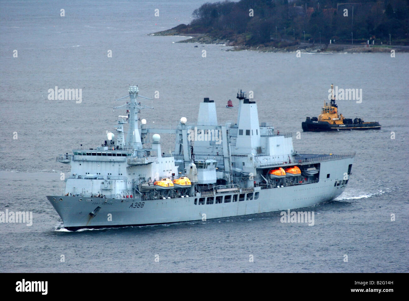 RFA Fort George A388 is a combined fleet stores ship and tanker of the Royal Fleet Auxiliary - Stock Image