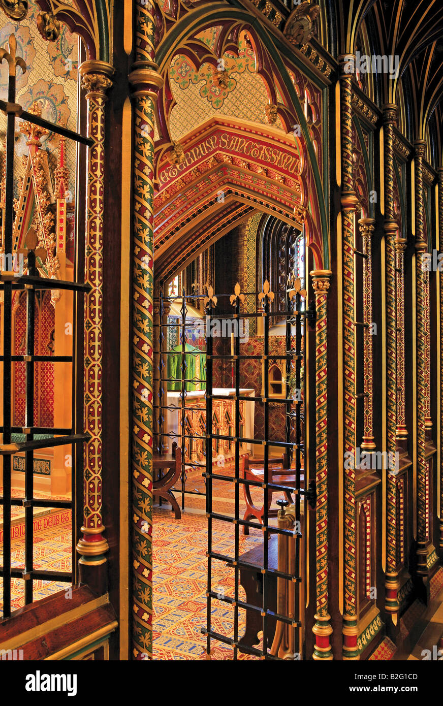 Rood screen. St Giles church, Cheadle, Staffordshire, designed in the Gothic Revival style by A.W.N. Pugin - Stock Image
