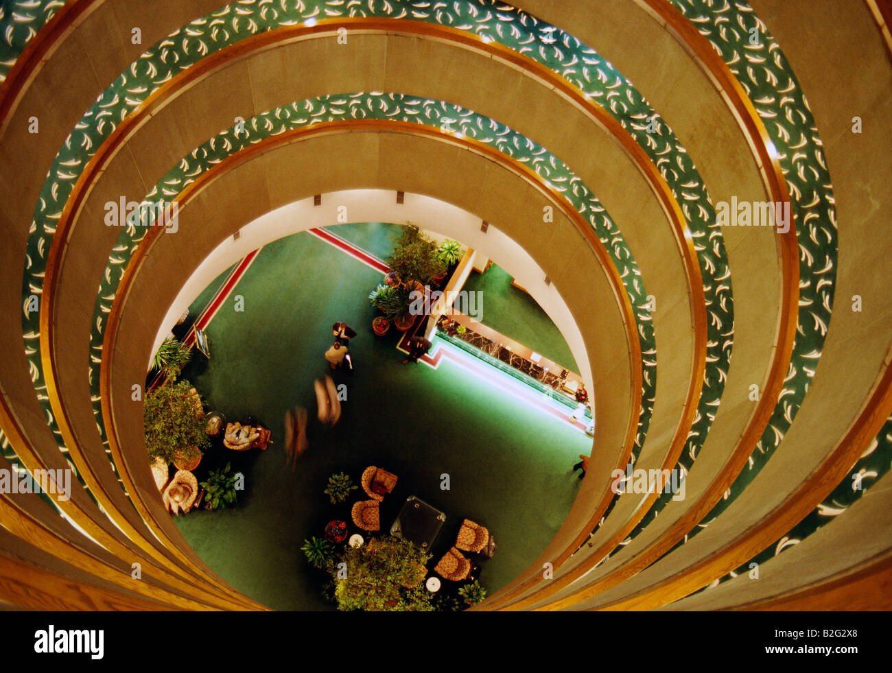 Hotel lobby viewed from circular, open, atricum above - Stock Image