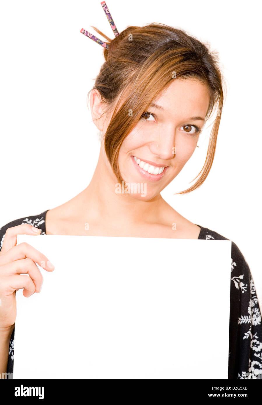 woman paper chic fancy stylish trendy fashion model voguish Stock Photo