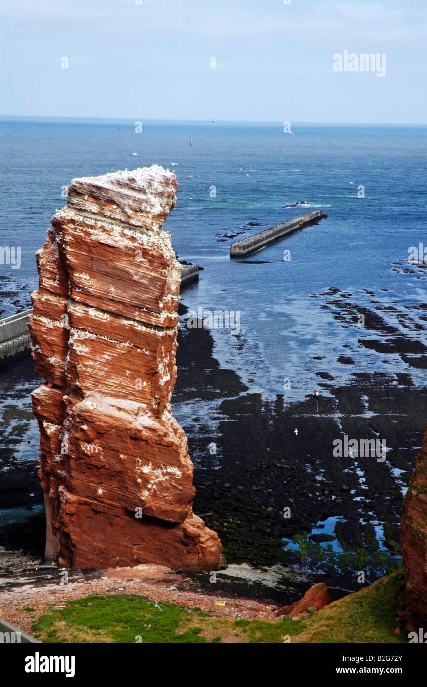 Birdrock lange anna Helgoland Schleswig Holstein landmark Germany panoramic view coast sea - Stock Image