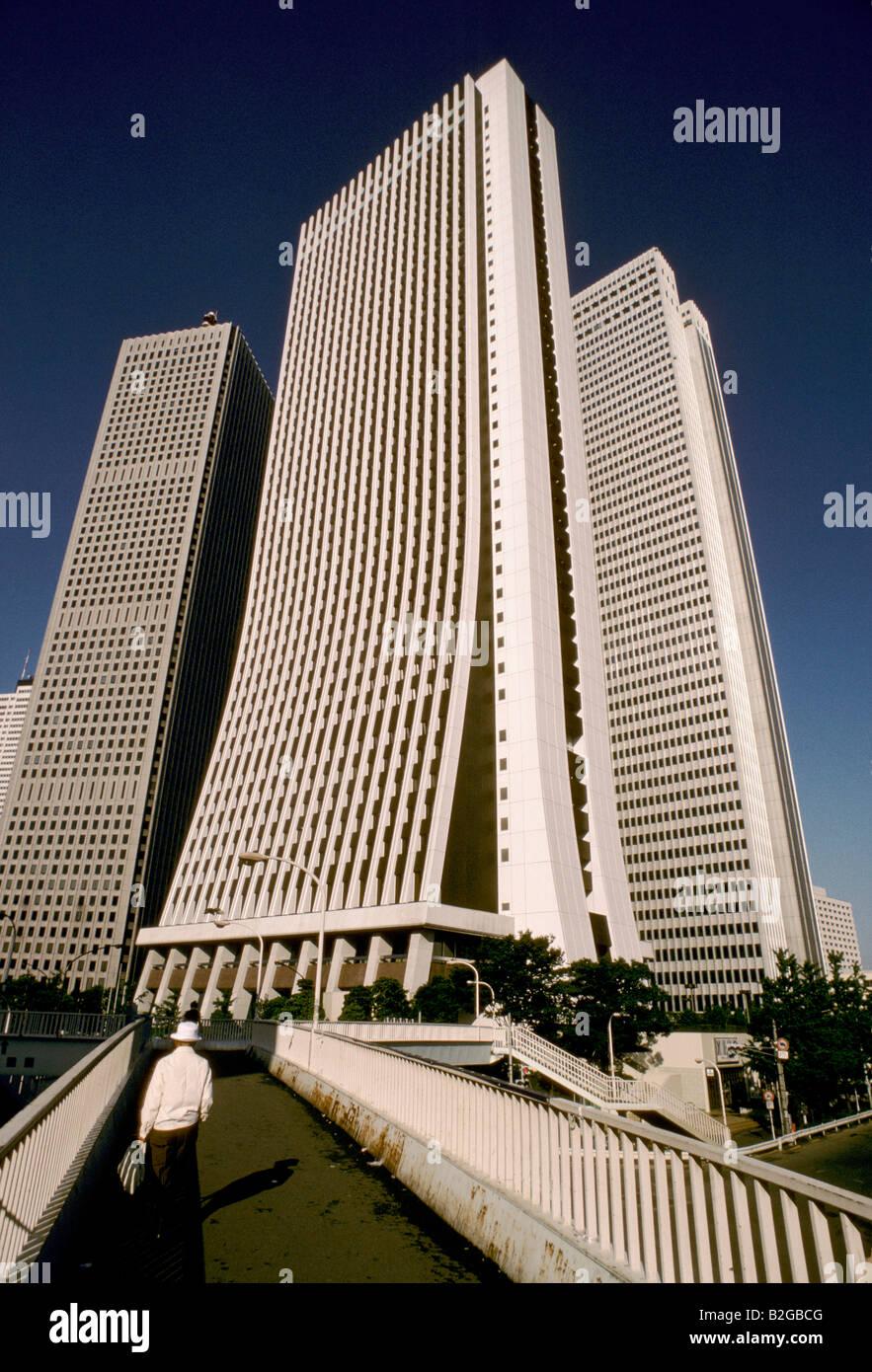 earthqake proof office blocks in shinjuku tokyo - Stock Image