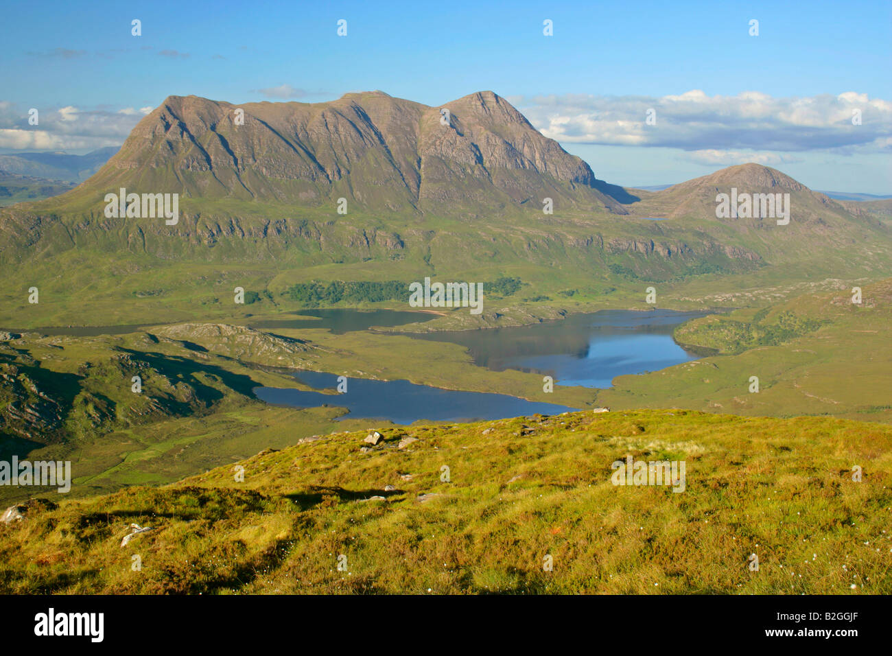 panoramic view lakelands lake landscape Inverpolly Nature Reserve Stac Pollaidh highlands Wester Ross Highlands Stock Photo