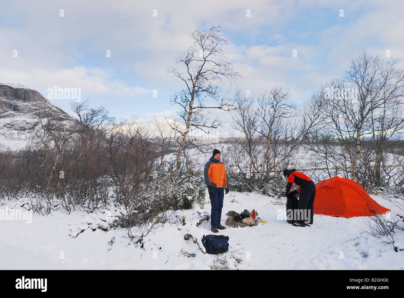 man outdorr wintercamping kebnekaise frost cold snow fjaell lapland norrbotten sweden Stock Photo
