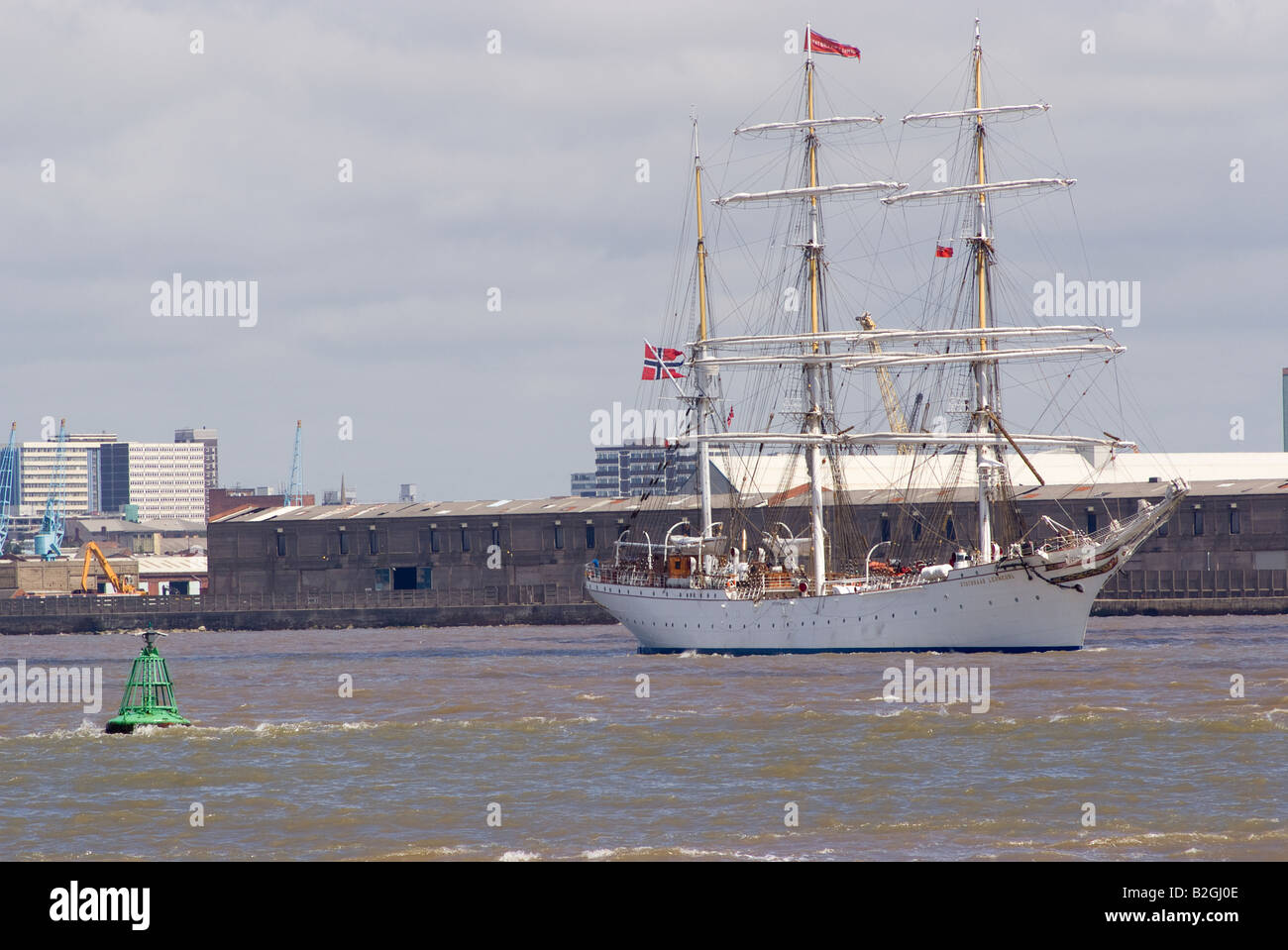 The Norwegian Tall Ship Statsraad Lehmkuhl on Her Way to the Start of the Tall Ships Race River Mersey Liverpool - Stock Image