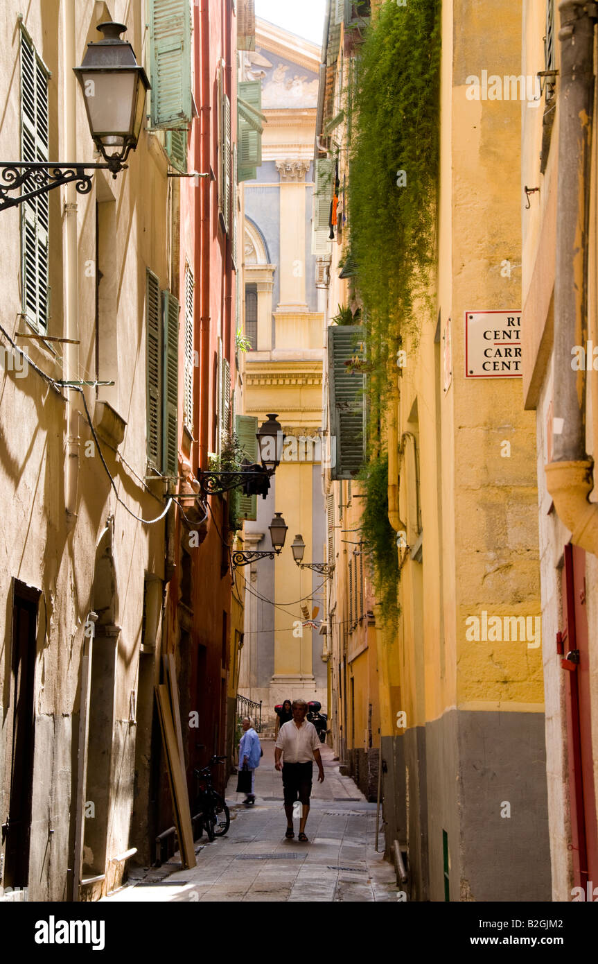 a view of Saint Jacques le Majeur through the narrow street, Old Twon of Nice, Cote d'Azur, France - Stock Image