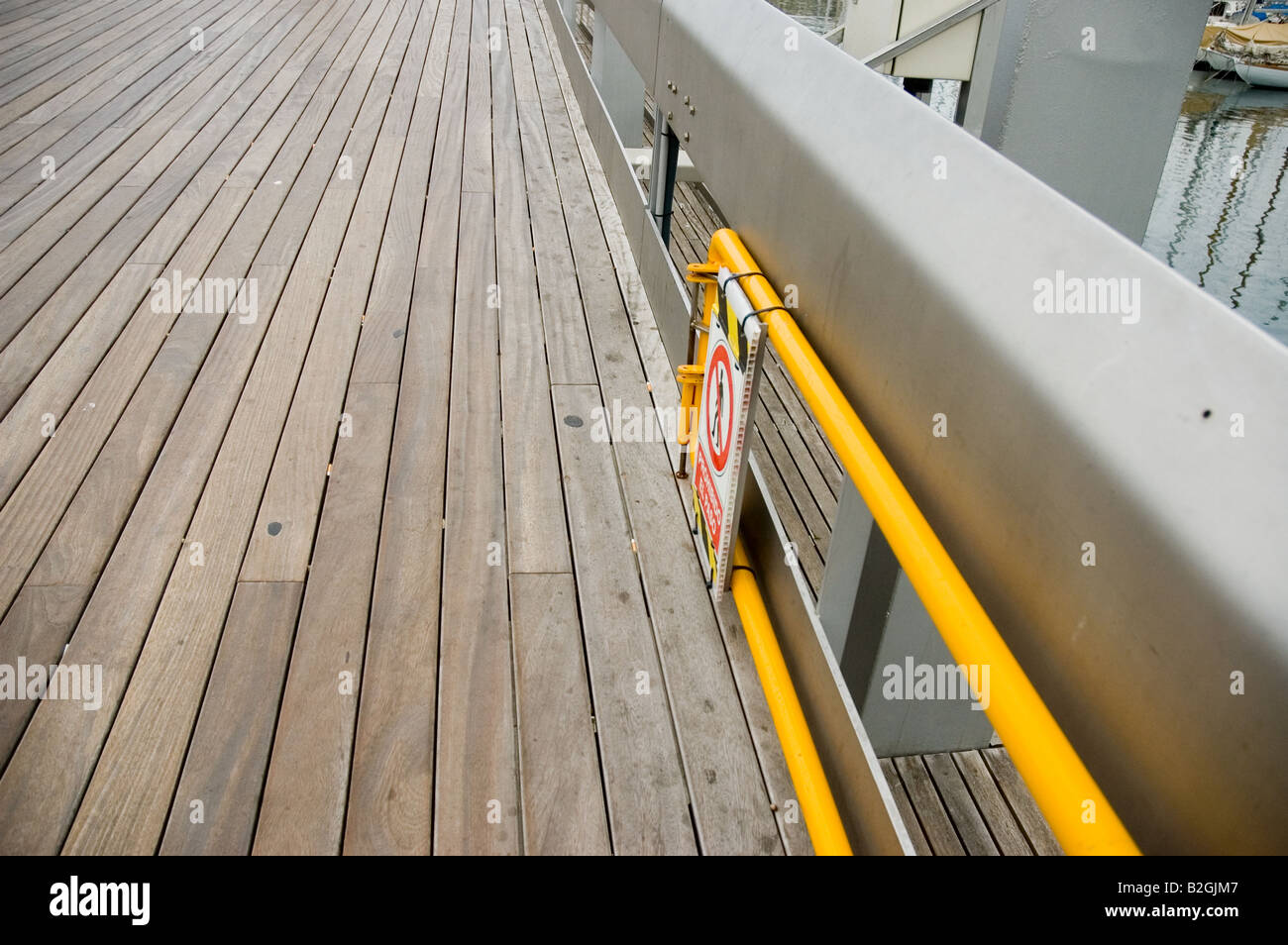 Rambla de Mar Port Vell bridge access deny sign Barcelona Spain Stock Photo
