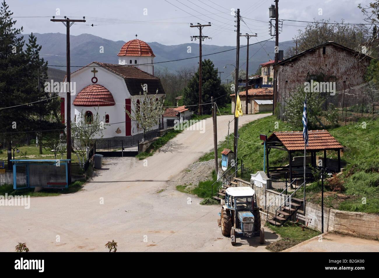 Greece Macedonia Antonios a small farming village the church in the centre - Stock Image