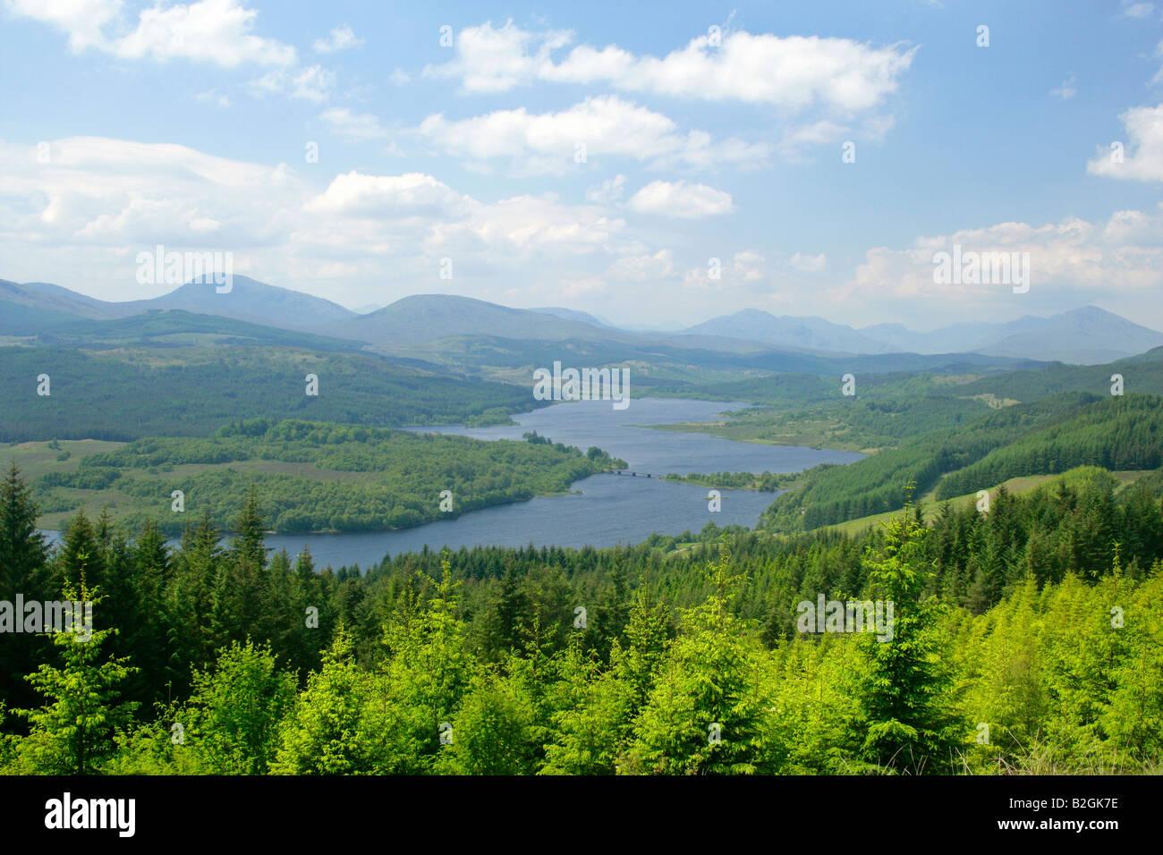 Loch Garry woodlands mountains Lochaber Highlands Scotland UK landscape scenery Stock Photo