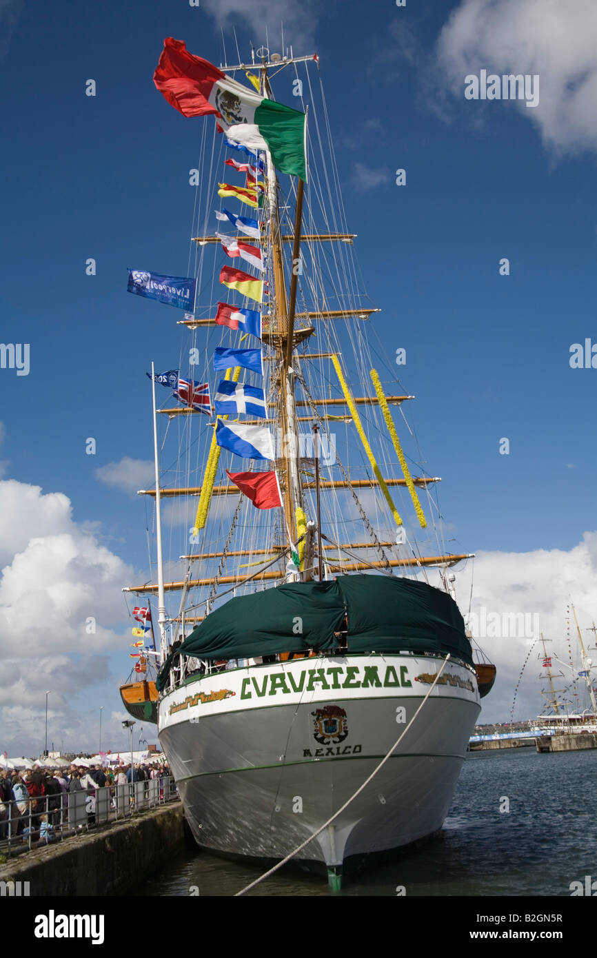 Liverpool Merseyside England UK July Cuauhtemoc a Mexican Navy training ship and an entrant in the Tall Ships Race Stock Photo