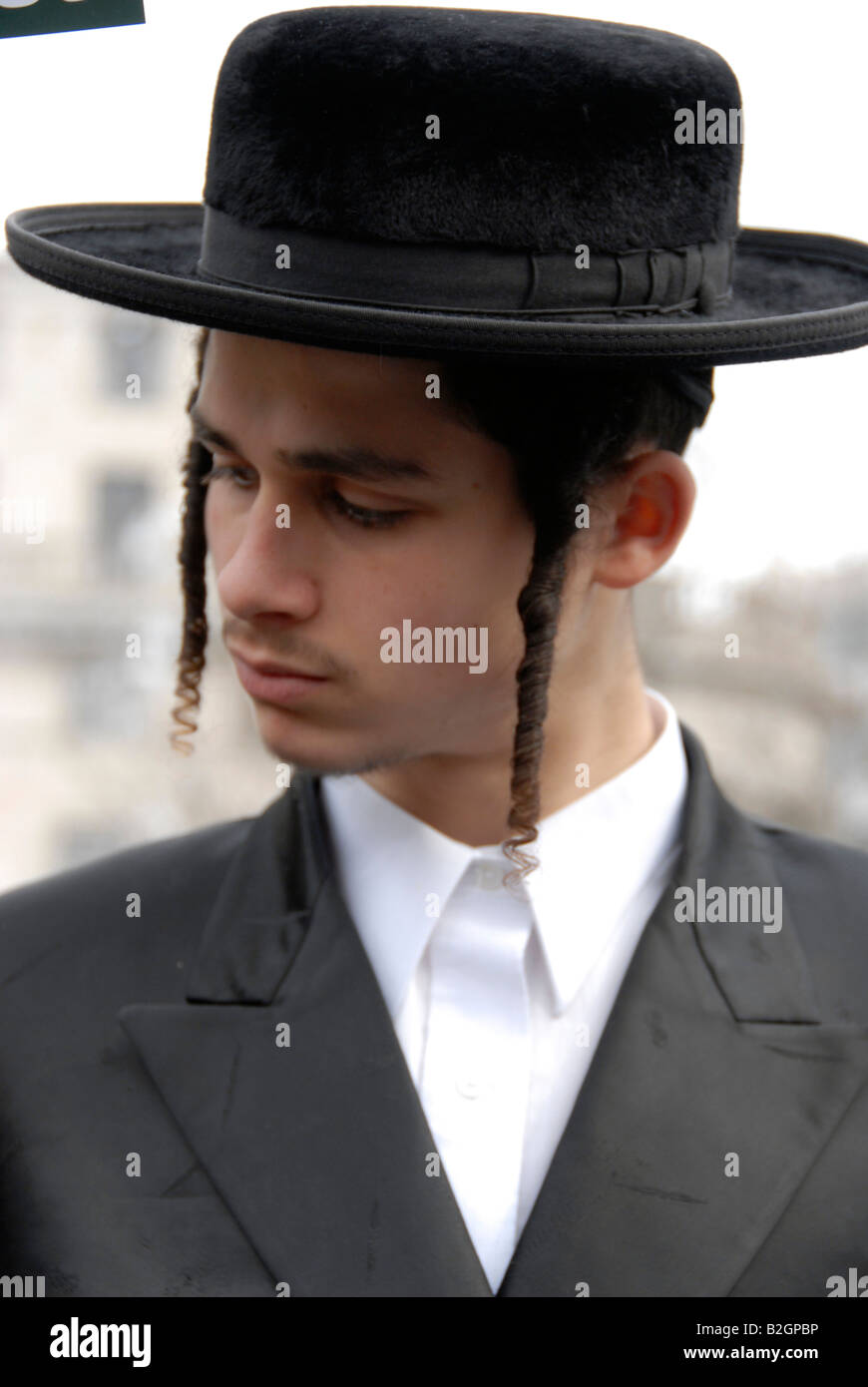 Close up of Hassidic Jews in London - Stock Image