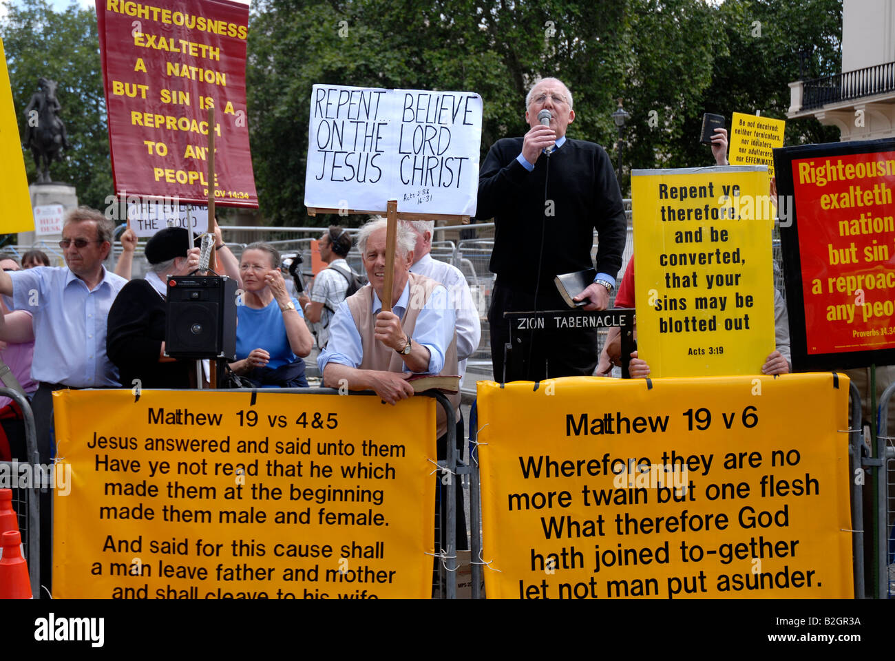 Religious  group protesting at Gay Pride March London - Stock Image