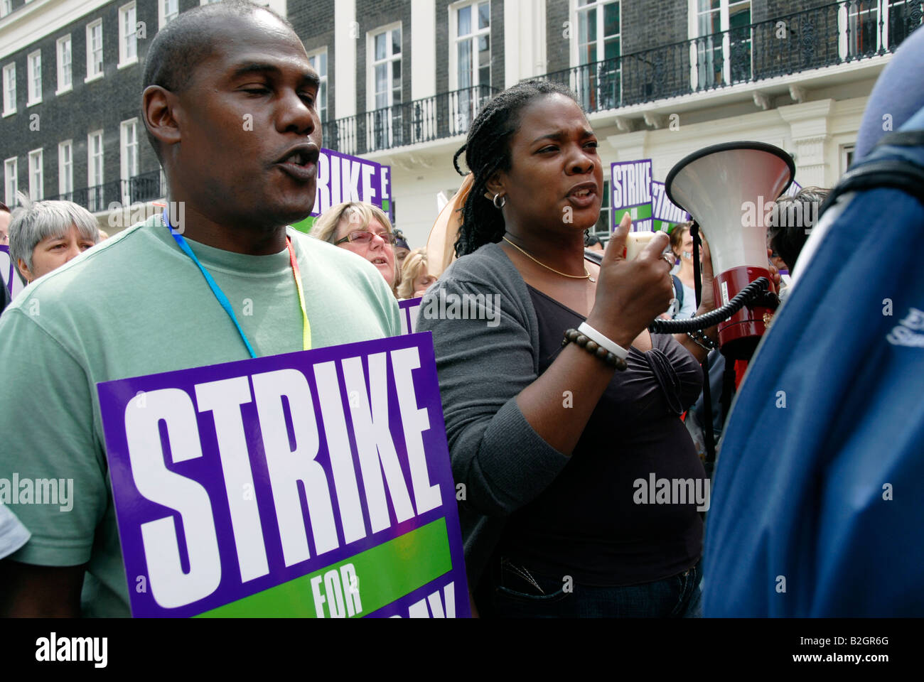 500 000 local government public sector workers joined two day union strike against low pay raise July 2008. - Stock Image
