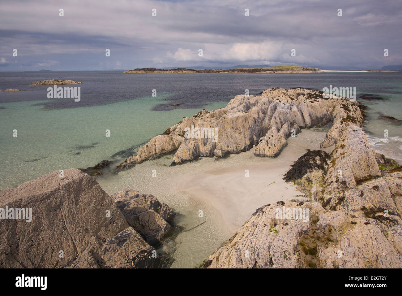 Secluded beach Iona - Stock Image
