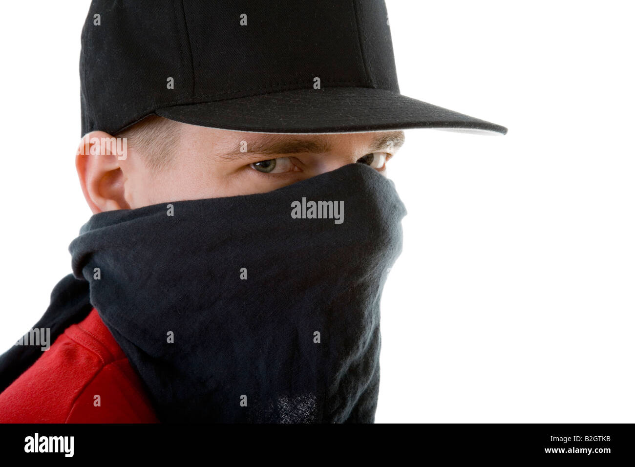 portrait young man mummery enveloped mantled people portrait - Stock Image