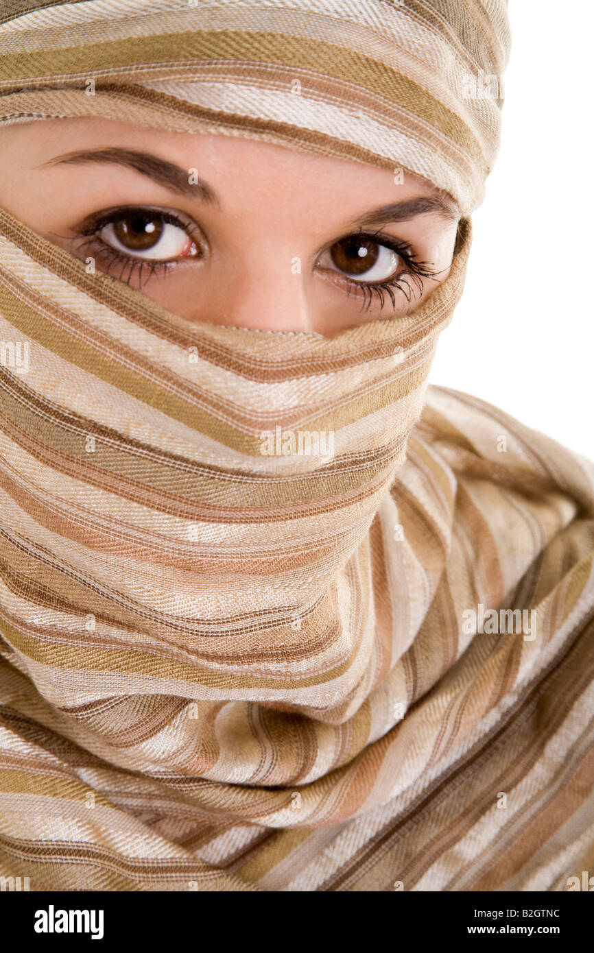 portrait young woman kopftuch enveloped mantled people - Stock Image