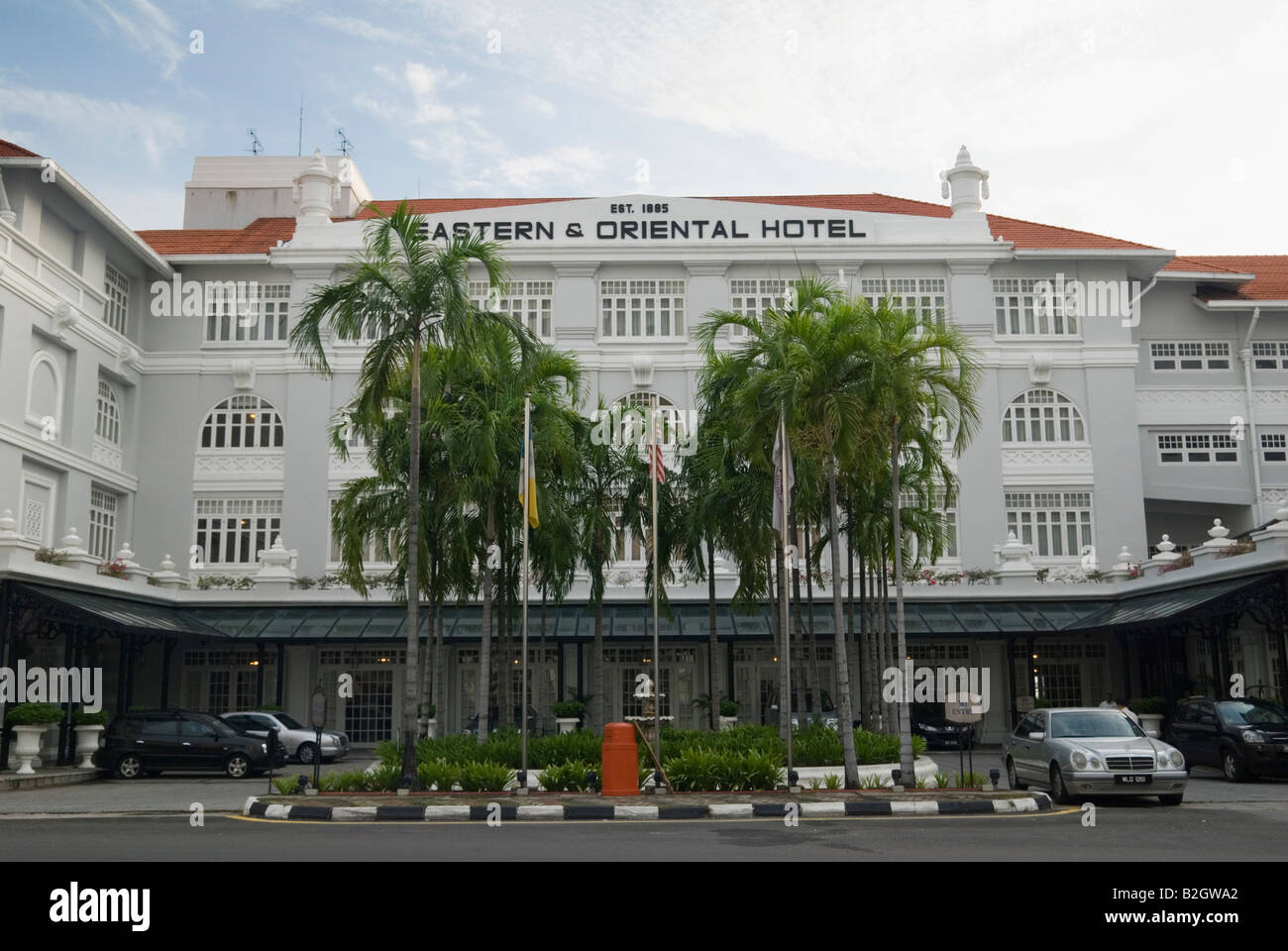 Colonial facade of the E & O luxury hotel founded by the Armenian Sarkies Brothers in 1895, Georgetown, Penang, Stock Photo