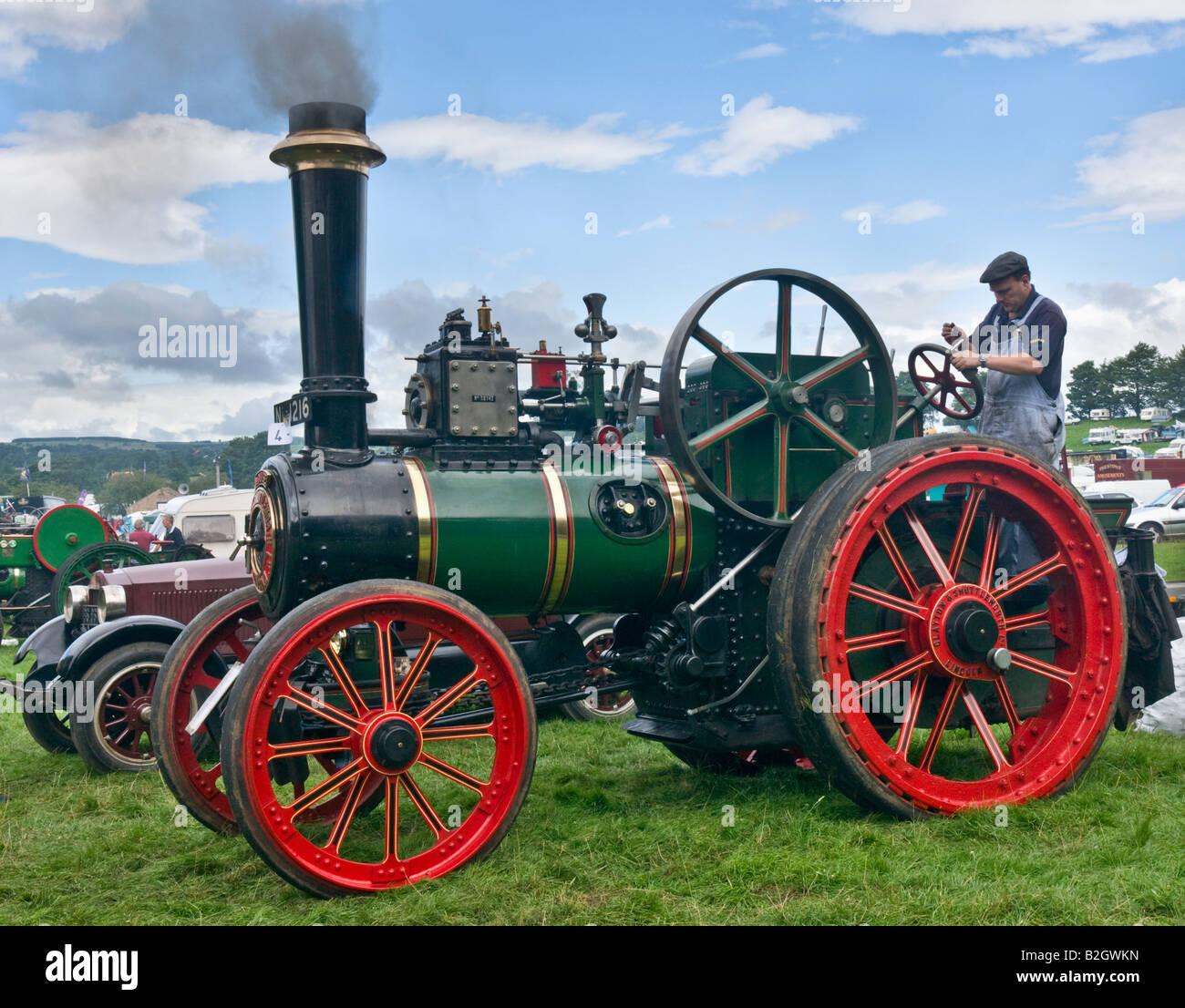 Traction engine at Masham Steam Engine and Fair Organ Rally - Stock Image