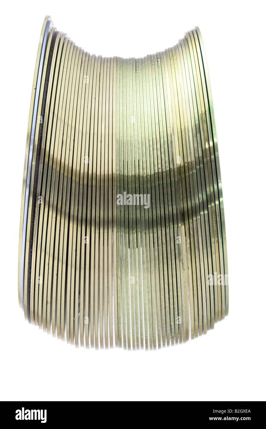 Vertical stack of compact DVD discs 'Digital Versatile Discs' disks - Stock Image