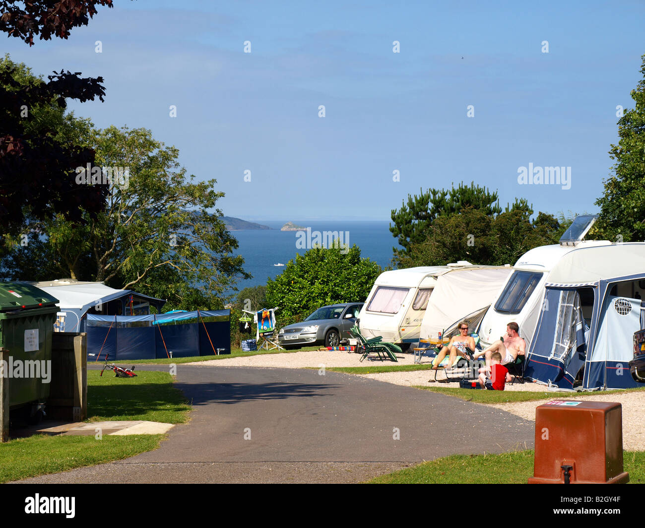 Beverley park campsite with views over Torbay at Goodrington,Paignton,The english Reviera,Devon,uk. - Stock Image