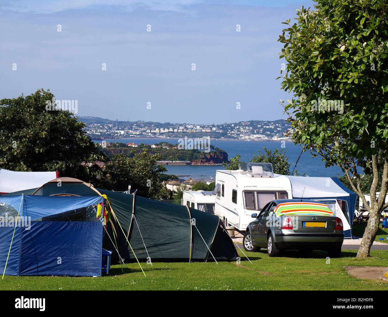 A view of Torbay from the Beverley park campsite at Goodrington,Paignton,The English Reviera,Devon,uk. - Stock Image
