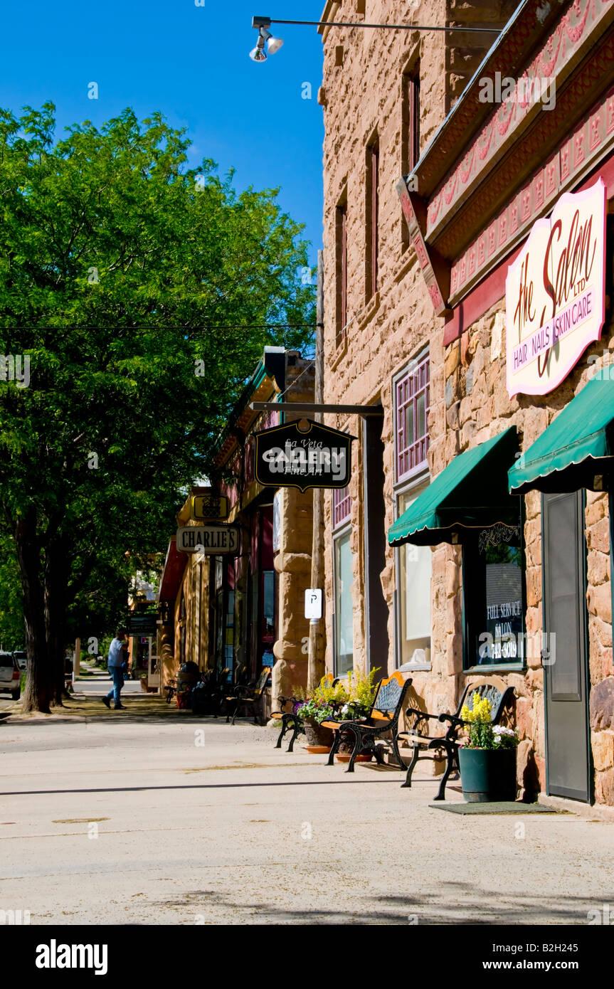 Old brick buildings on street in downtown La Veta Colorado - Stock Image