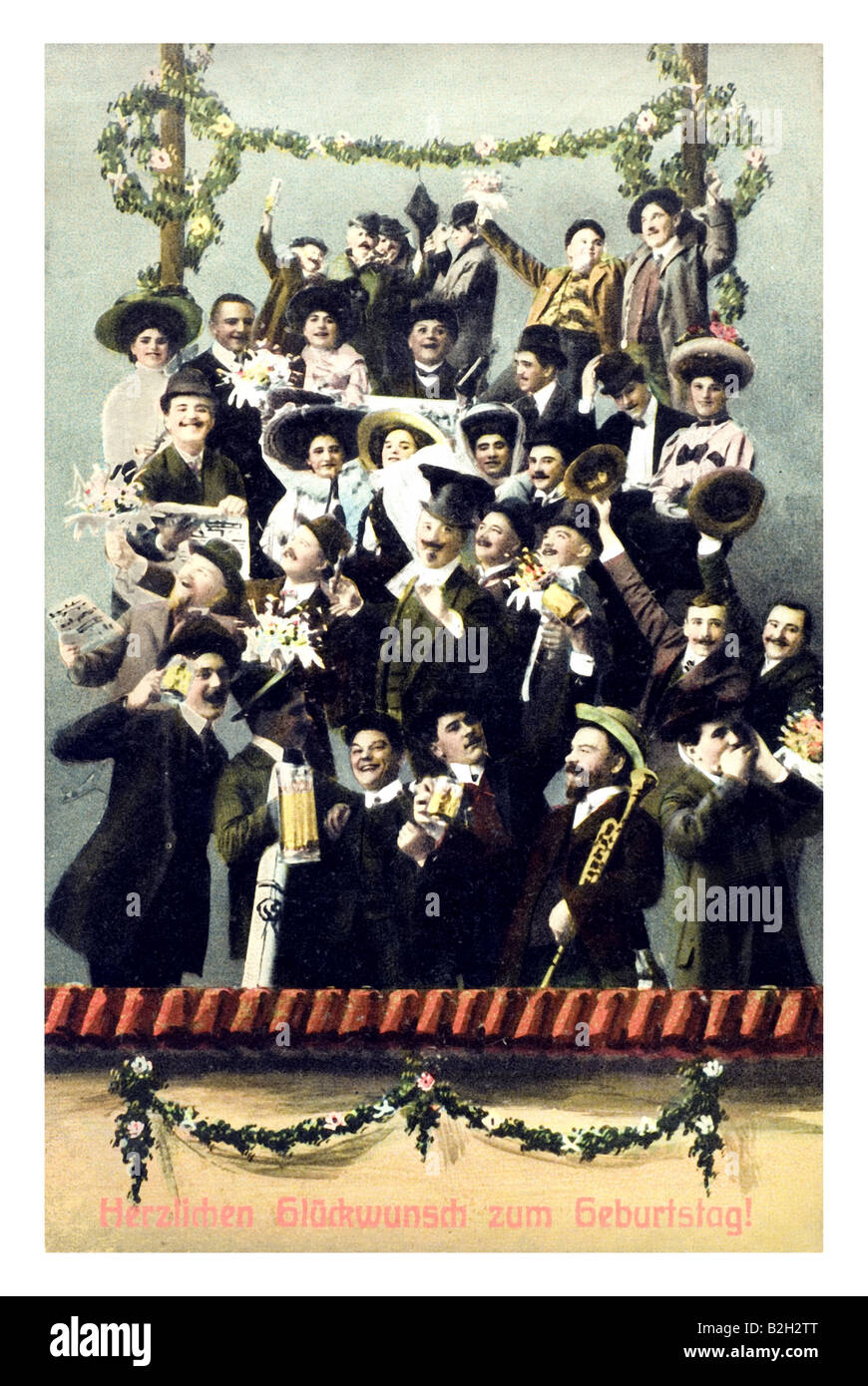 Postcard motive Prosit Bavarian party people with lots of beer 19th century Germany - Stock Image