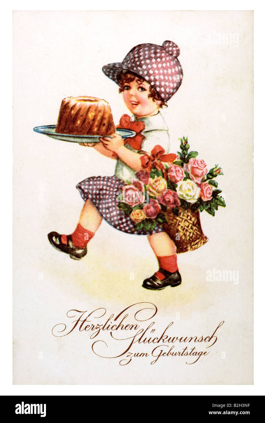 Postcard Motive Cute Little Girl Classic Birthday Cake Flowers 19th Century Germany