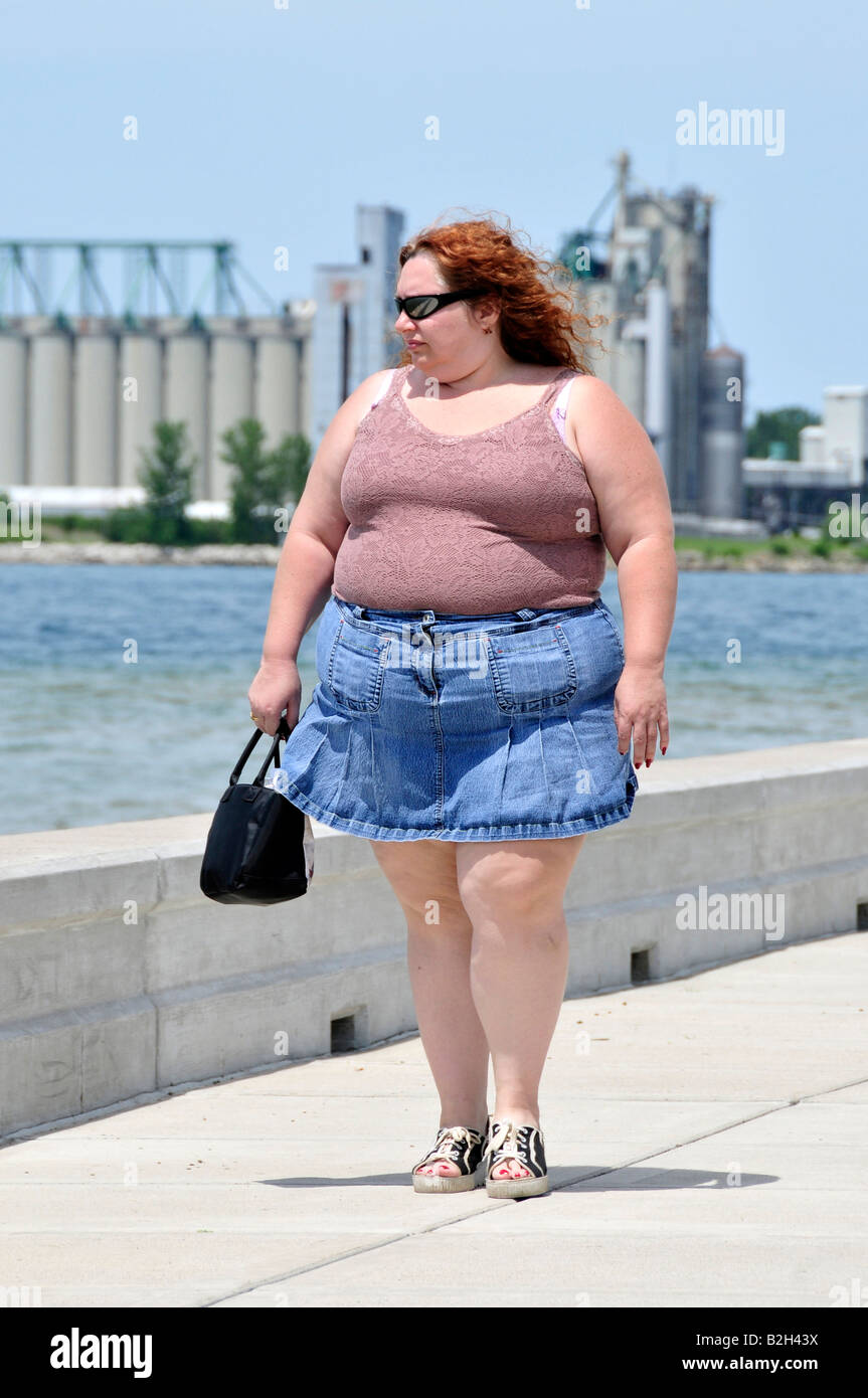 Obese Fat Female Walking Stock Image