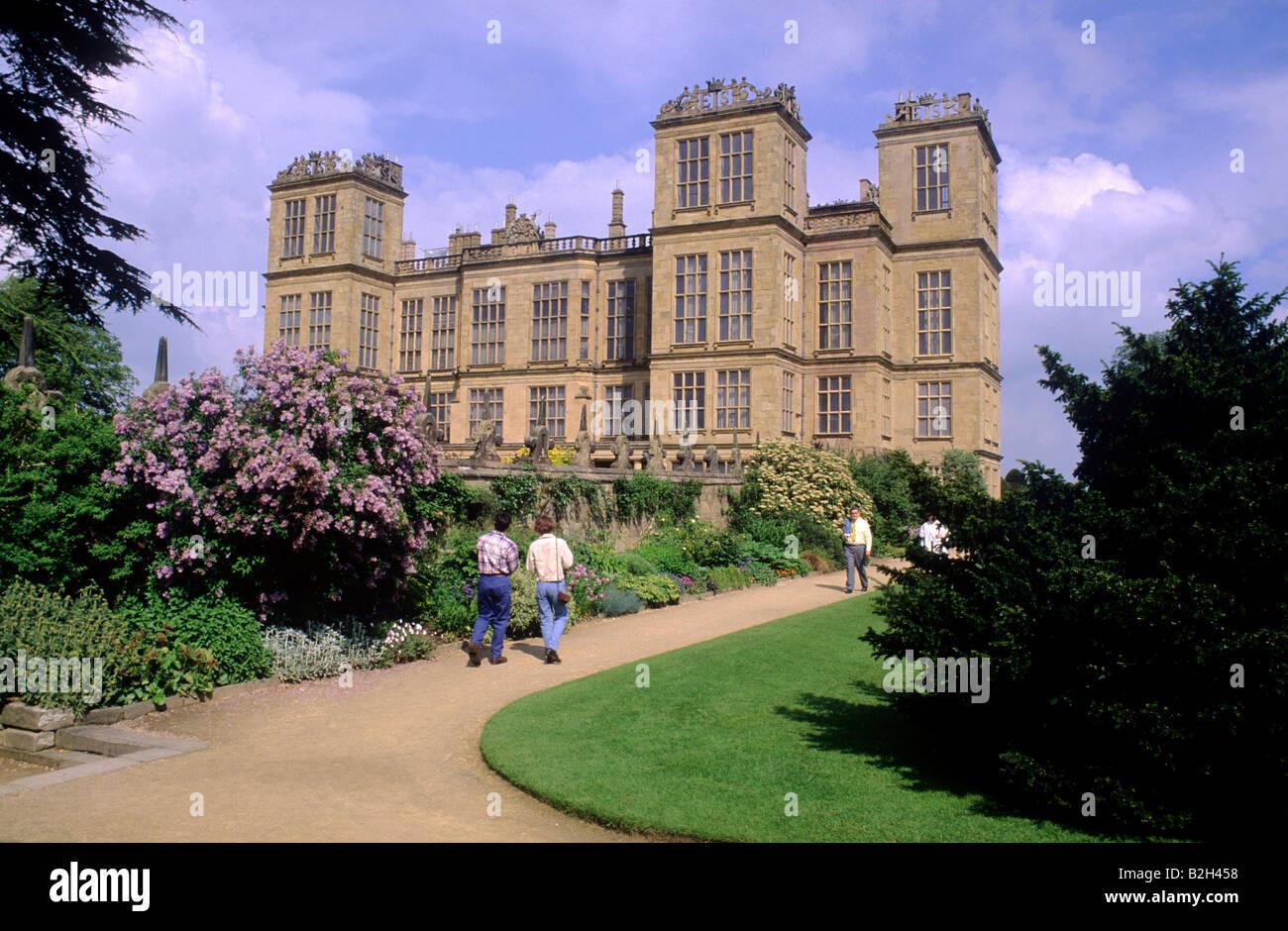 Hardwick Hall Visitors Derbyshire Elizabethan Mansion Tudor 16th Century English Architecture Stately Home Garden England Uk