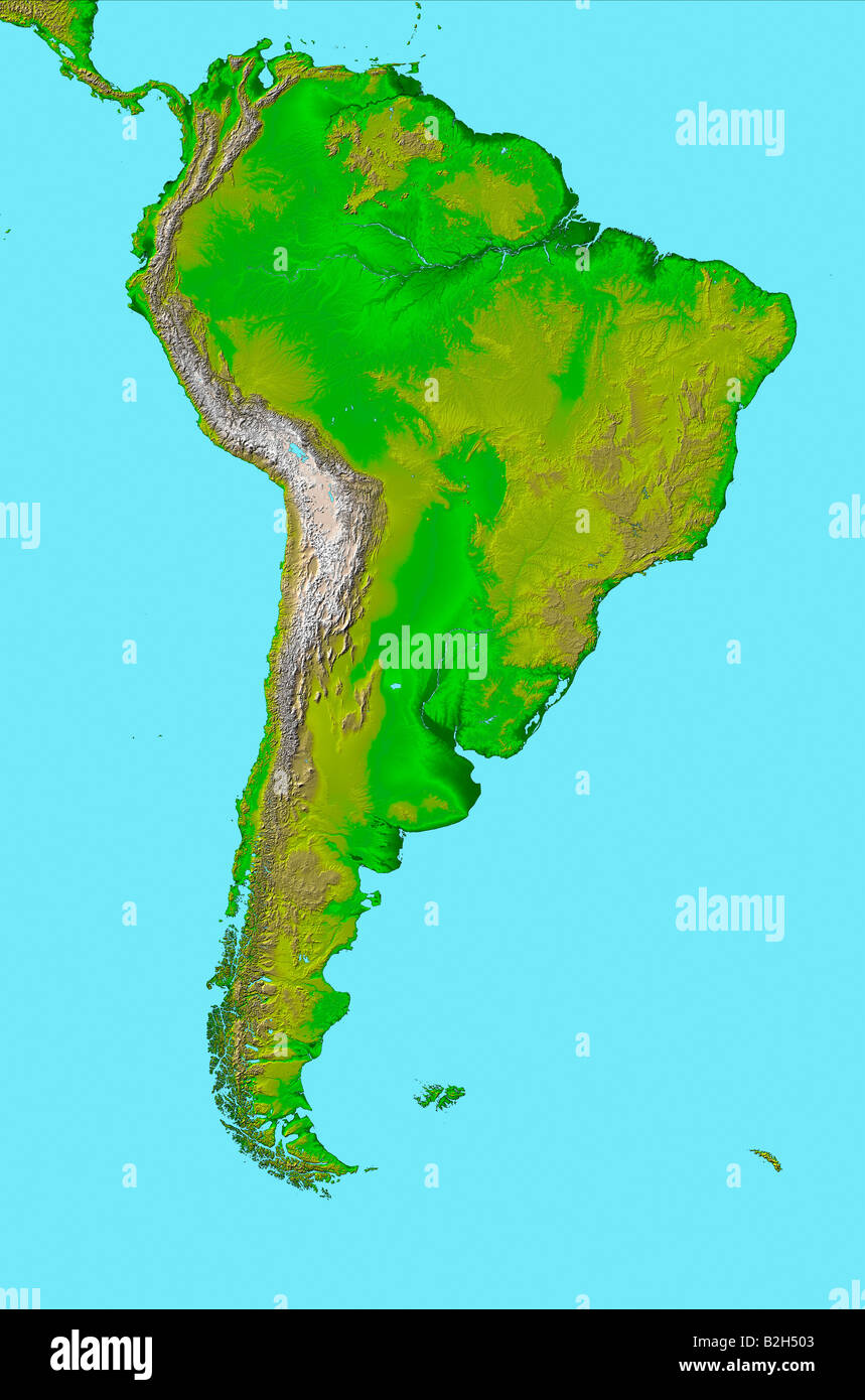 Satellite Map Definition high definition satellite view of South America map Stock Photo