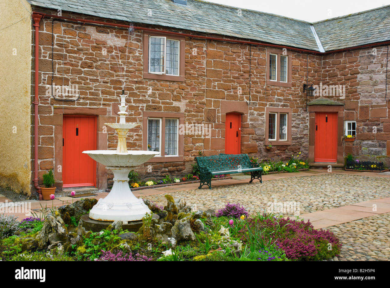 Almshouses, known as St Anne's Hospital, Appleby, Cumbria, UK, founded by Lady Anne Clifford in 1651 - Stock Image