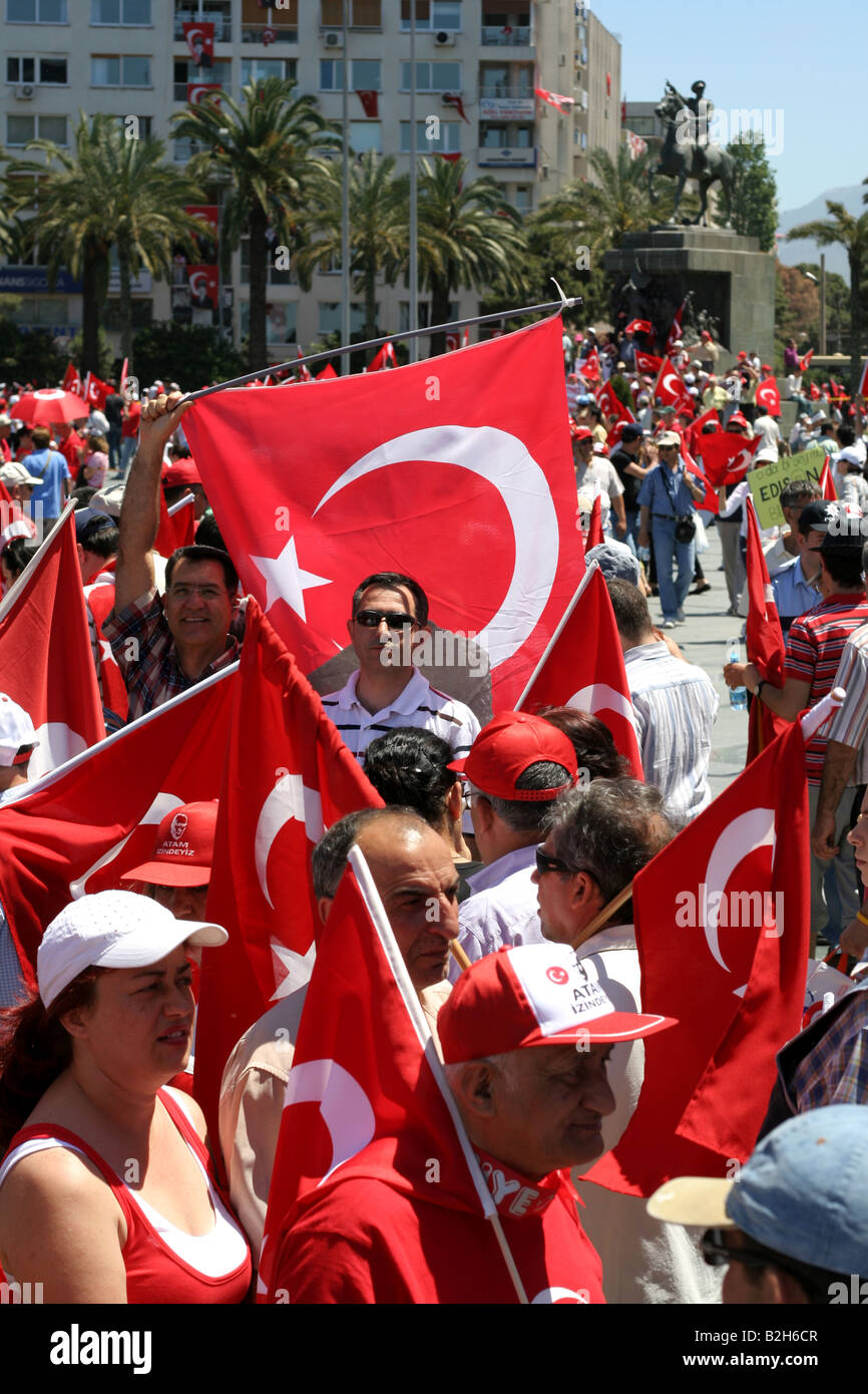 people  marching with Turkish flags in the pro secular rally in izmir Turkey 13th of may 2007 - Stock Image
