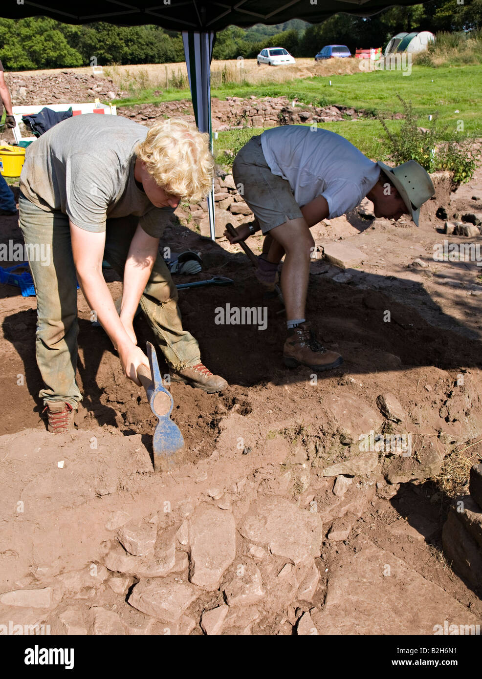 Archaeological dig at the Lost City of Trellech project Wales UK - Stock Image