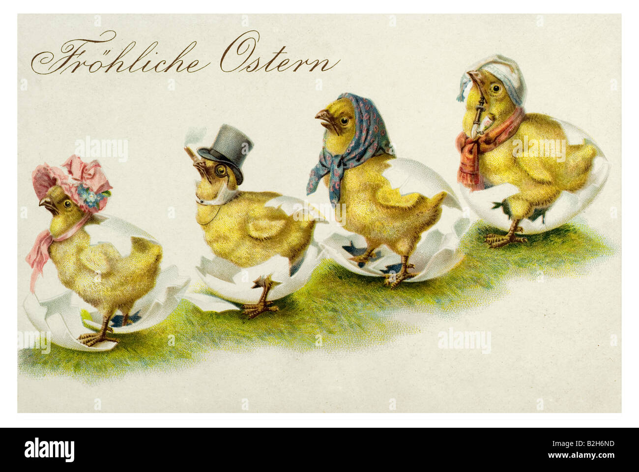 Postcard motive We are all easter chicks 19th century Germany - Stock Image