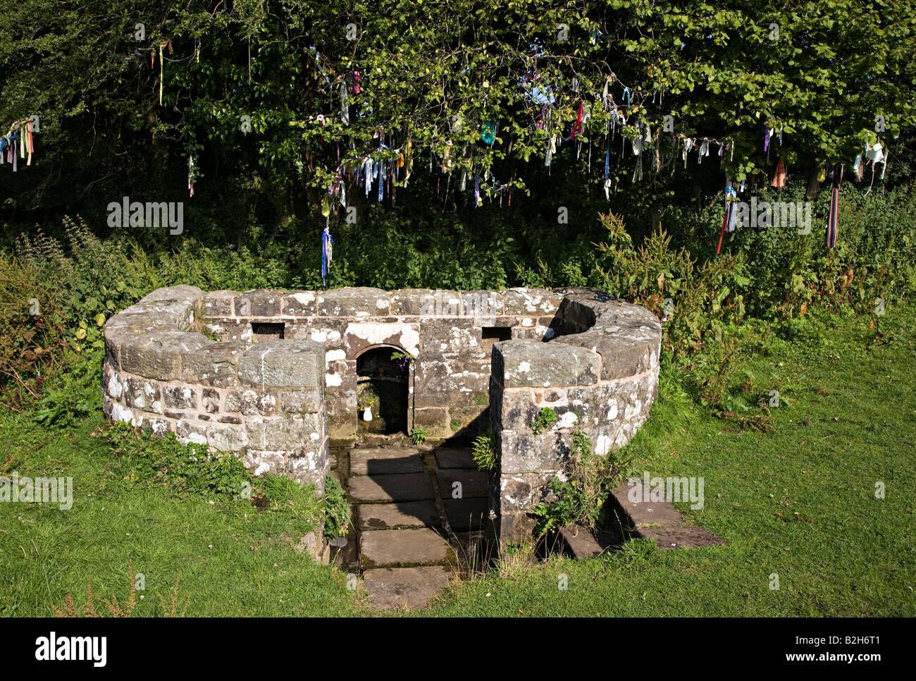 The Virtuous Well or St Anne's Well 17th century and still dressed with strips of coloured cloth Trellech Wales Stock Photo