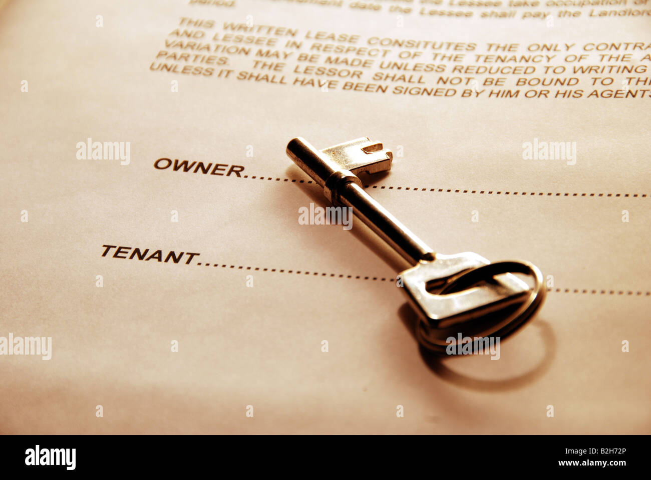 key resting on lease - Stock Image