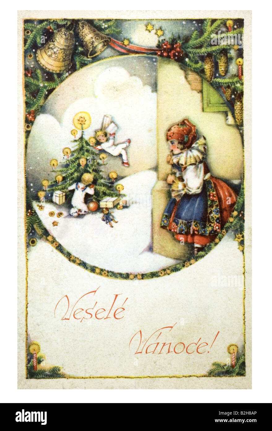 Postcard motive Observing the christmas angels 19th century Germany ...