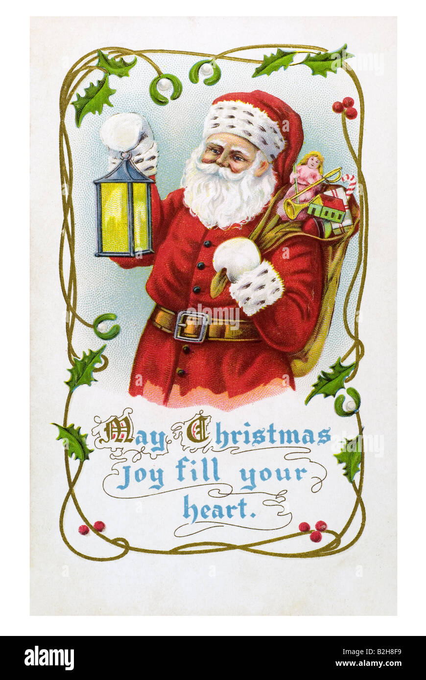 Postcard motive old fashioned red Father Christmas white beard red dress cap gloves with luminaire and sack full - Stock Image