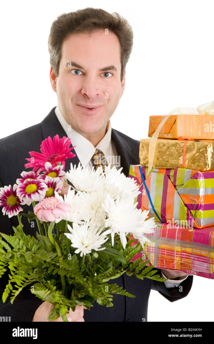 Presents Birthday Gift Flower Bouquet Floral Bunch Christmas Packets Stock Photo Alamy