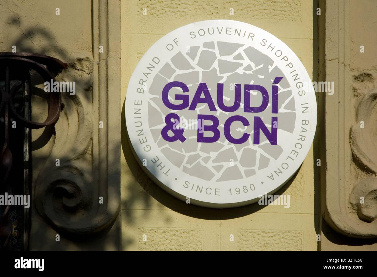 gaudì & bcn sign barcelona spain - Stock Image