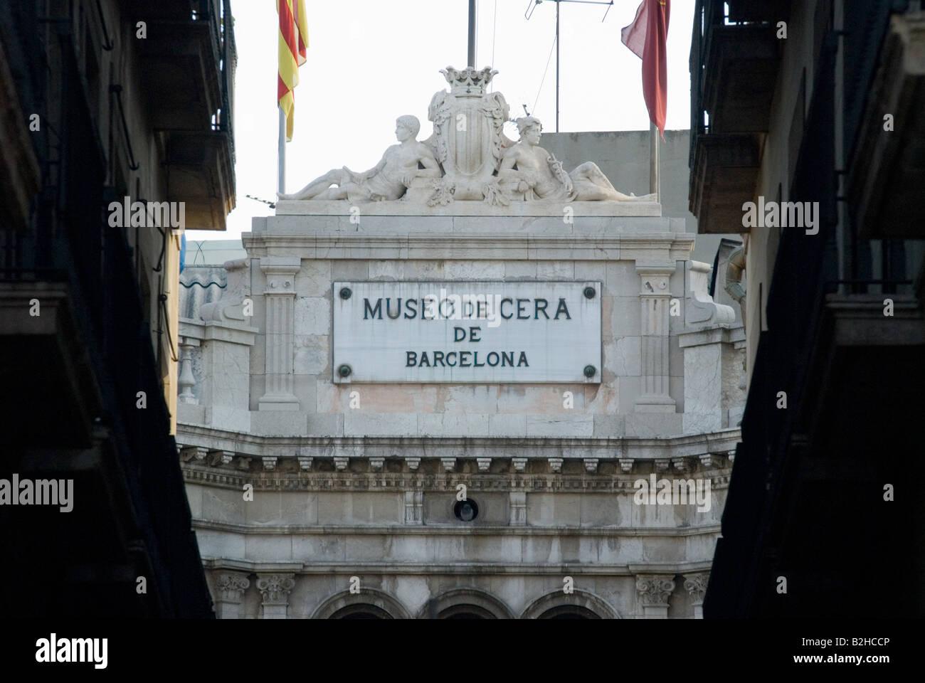 museu cera waxworks museum facade in barcelona Stock Photo