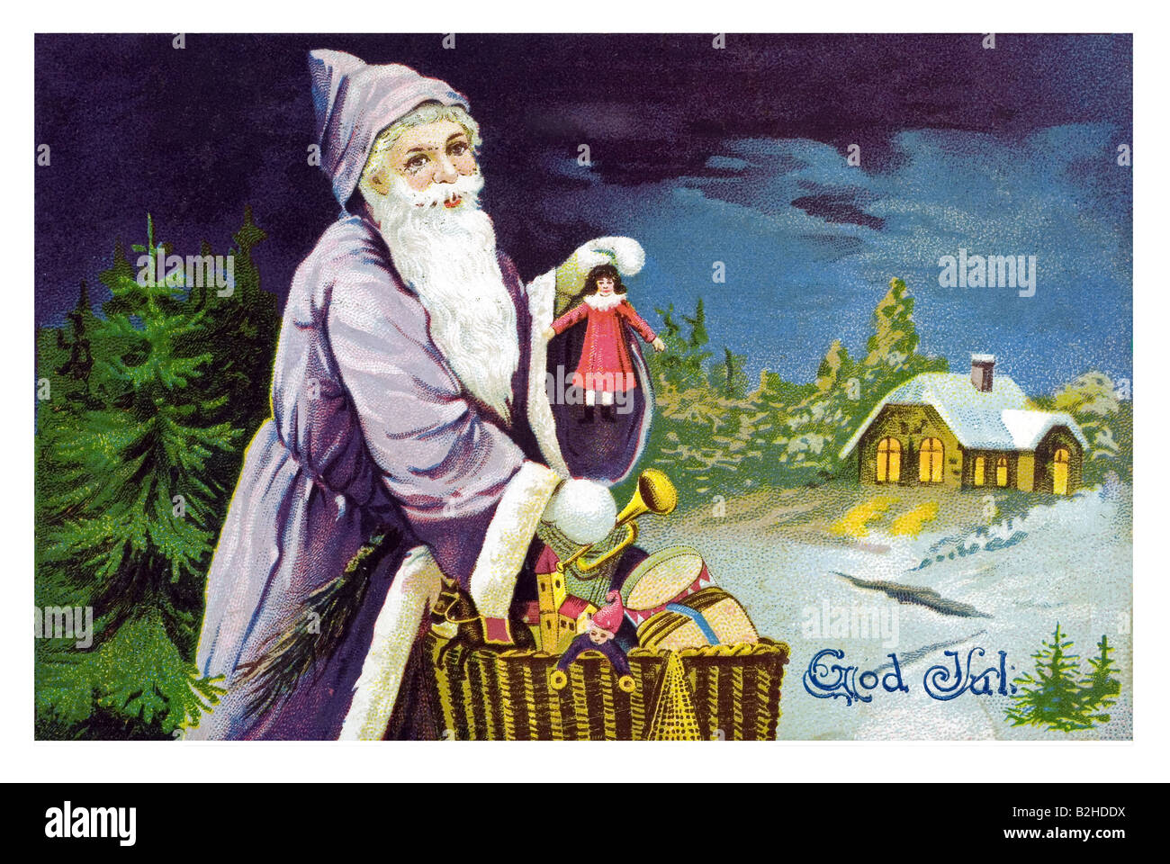 Postcard motive Father Christmas brings the presents in a basket 19th century Germany - Stock Image